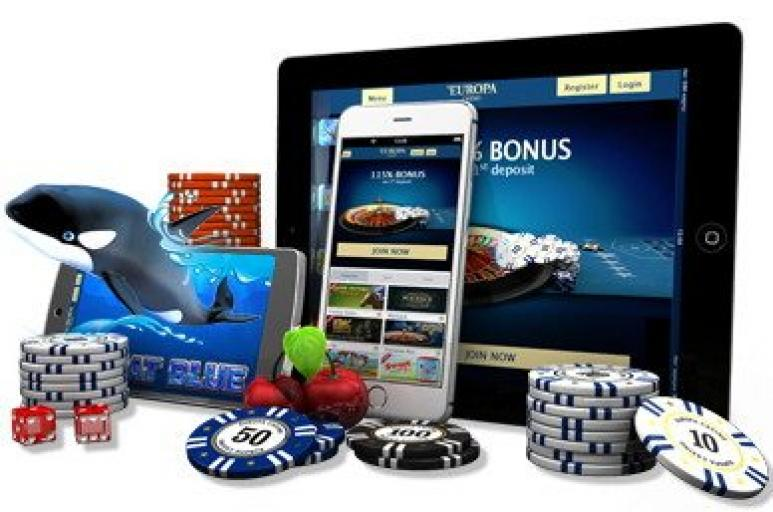 Mobile Casino mit Tablet Jetons und Handy